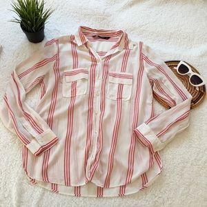 Zara Basics Women Striped Long Sleeve Button Down
